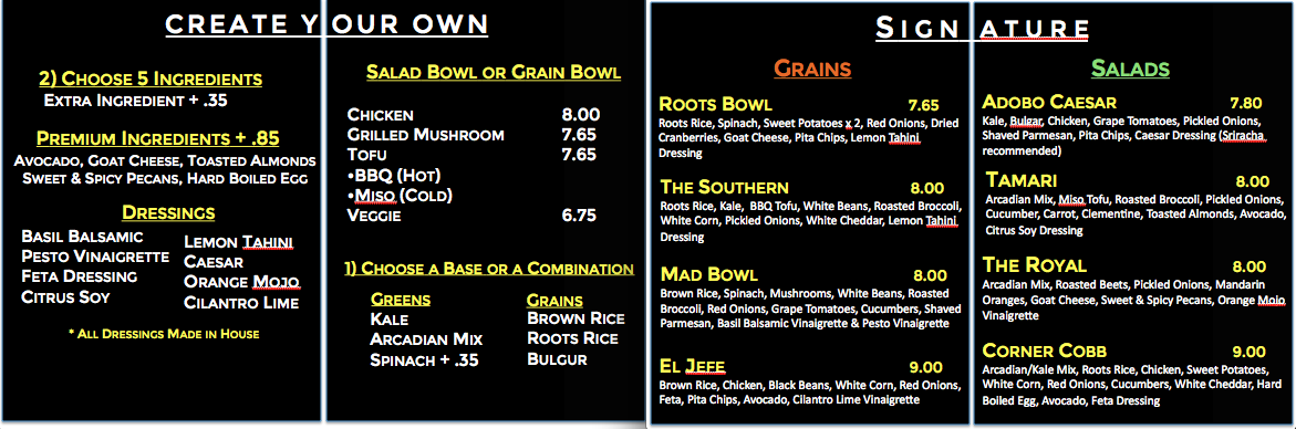 Roots Kitchen And Bar Menu