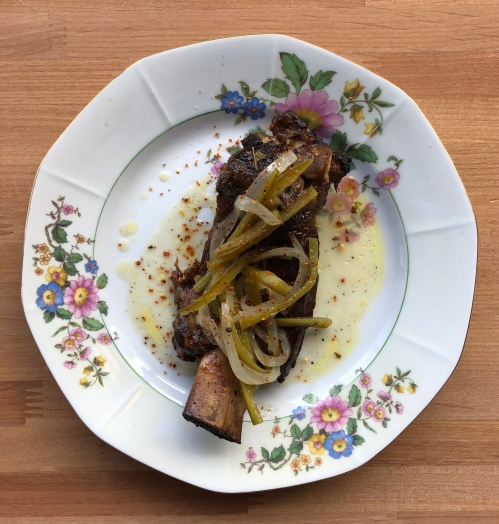 Beef Rib, Sour orange and annato marinade, Pickled jalepino and roasted garlic habanero dressing, tajin